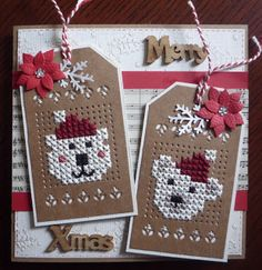 A Christmas card every week for 52 weeks! - A Christmas card every week for 52 weeks! Easy Cross Stitch Patterns, Cat Cross Stitches, Simple Cross Stitch, Cross Stitch Borders, Cross Stitch Flowers, Cross Stitching, Cross Stitch Embroidery, Cross Stitch Freebies, Cross Stitch Bookmarks