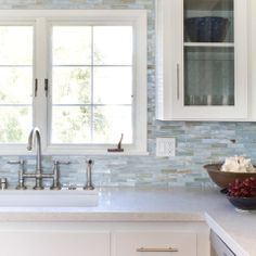 This tile is a great glass collection by Stone and Pewter Accents called Agate, color is Lucca Pearl.