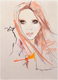 Marianne 2  Fashion Illustration Art Print by LeighViner