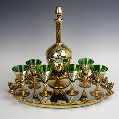 Set of 6 Bohemian/Murano gilded enamelled green by ArtofGlassShop