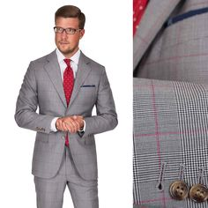 The red overcheck of our Grey & Red Plaid Super 150s Suit adds a whiff of royalty to an already regal pattern. | 100% SUPER 150s WOOL | Woven in Italy by Vitale Barberis Canonico. #vendetta #greyplaidsuit #premiumsuit #customsuit #redchecksuit