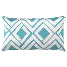 Avenida Maze Embroidered Pillow in Blue and White