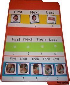 3-5 Step Sequencing Board: File folder game with three sequencing strips for 3-, 4-, and 5- step sequences. by Kaley444