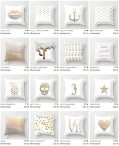 I made these collection of Gold & Glitter pillows to find the perfect matching pillows to every style of modern or scandinavian, luxury or romantic room. Find your pillow in three sizes