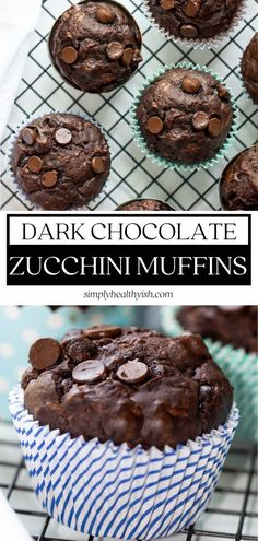 Moist, rich, and tasty Dark Chocolate Zucchini Muffins are the perfect addition to your holiday baking list! This health Healthy Dark Chocolate, Dark Chocolate Recipes, Easy Chocolate Desserts, Big Chocolate, Chocolate Hazelnut, Thanksgiving Chocolate Desserts, Holiday Desserts, Holiday Baking, Holiday Treats