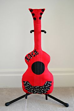 Classic Rock n Roll Guitar Pillow Red / Guitar by pookiedookie