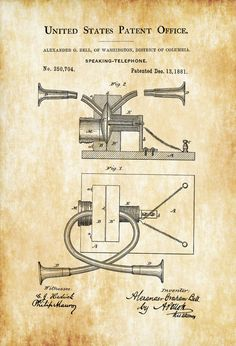 A patent print poster of one of the first telephones (called speaking telephone in the Patent) invented by the father of the telephone - Alexander Graham Bell. The patent was issued by the United States Patent Office on December 13, 1881. An interesting fact is that Bell considered the telephone to be an intrusion ...
