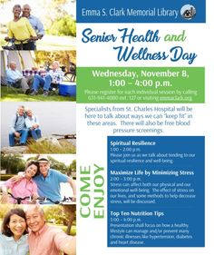 Wednesday, November 8 is Senior Health & Wellness Day here at Emma Clark, and registration is now open for classes! Please share with your family & friends. More info here: emmaclark.org/seniorhealthwellnessday