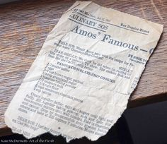 Famour Amos' cookie recipe presented by Art of the Pie.  Can't wait to try it!