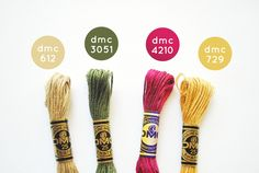 {Harvest Time} DMC Floss Color Combination 612: Light Drab Brown; 3051: Dark Grey Green; 4210: Radiant Ruby; 729: Medium Old Gold