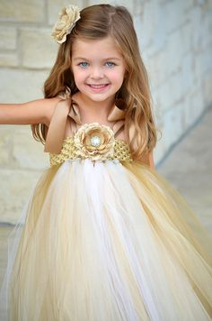 Antique Gold Ivory and Silver Flower Girl Wedding Tutu Dress Flower Girl Dress by Tutu Bella Boutique - Speicial Occassion Girls Dress