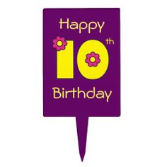 10th Birthday in Flores Yellow Rectangular Cake Toppers