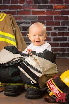 Baby photography firefighter www.theredelephantstudio.com