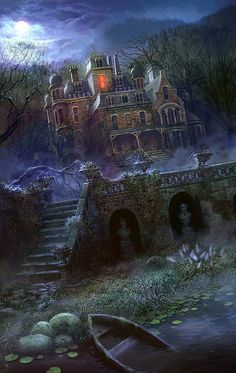 Online digital art gallery of best pictures and photos from portfolios of digital artists. Manually processing and aggregation artworks into the thematic digital art galleries. Fantasy Places, Fantasy World, Dark Fantasy, Spooky Places, Haunted Places, Halloween Pictures, Halloween Art, Spirit Halloween, Garfield Halloween