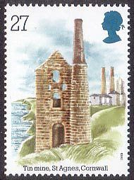 Industrial Archaeology 27p Stamp (1989) Tin Mine. St Agnes Head, Cornwall
