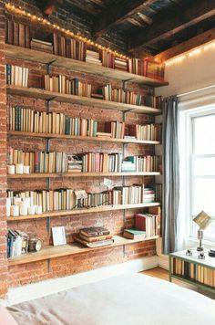 Manhattan Loft - Sevgi Y. - - Manhattan Loft - Sevgi Y. Home Library Design, House Design, Sweet Home, Desk Shelves, Bookshelf Wall, Floating Shelves, Brick Shelves, Corner Bookshelves, Kids Bookcase