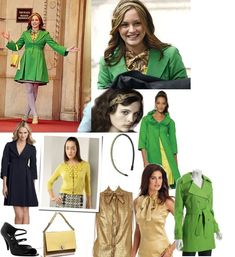 On Blair: Nanette Lepore Ferry Boat Coat, Milly Mini Beaded Cardigan, David Szeto Gold Bow Top