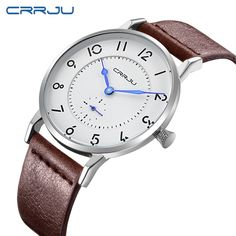 12.99$  Watch now - http://aliov8.shopchina.info/go.php?t=32481500289 - CRRJU Hot Sale Quartz Men Watch Fashion Genuine Leather Watches Famous Brand Waterproof Wrist Watch Business Wristwatch Relojes  #magazine