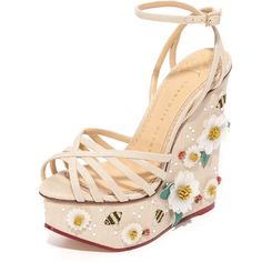 Charlotte Olympia Floral Meredith Sandal Wedges ($638) ❤ liked on Polyvore featuring shoes, sandals, wedges, heels, heeled sandals, strappy wedge sandals, high heels sandals, platform wedge sandals and strap heel sandals