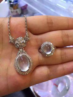 Translucent jadeite cabochon pendant and ring jewelry set (With images) Blue Diamond Jewelry, Gold Rings Jewelry, Jade Jewelry, Pendant Jewelry, Jewelry Sets, Jewelery, Gemstone Engagement Rings, Fantasy Jewelry, Luxury Jewelry