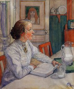 """Carl Larsson """"My Eldest Daughter, Suzanne with Milk and Book"""", 1904"""