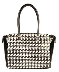 fdc02dd915b9 Hounds Tooth Top Handle Large Tote Satchel Women s Handbag Purse