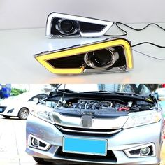119.69$  Watch now - http://ailn4.worlditems.win/all/product.php?id=32795012095 - 1 Set LED DRL Daytime Running Lights With White and Yellow Turning Function Colour Light for HONDA CITY 2015-2017