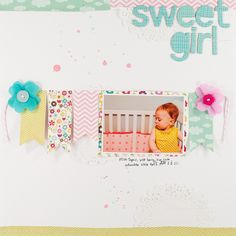 #papercraft #scrapbook #layout  Love the banner and tissue like flowers  Melissa Stinson