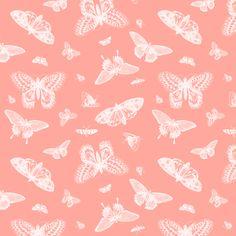 Vintage Butterflies - Coral fabric by jenniferstuartdesign on Spoonflower - custom fabric