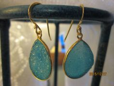 Vintage Victorian 14K Gold/Sterling 12.00ct Fairy Blue Druzy Quartz Dangle Earrings 5.3g, Size 37.4 x 16.2mm by TamisVintageShop on Etsy