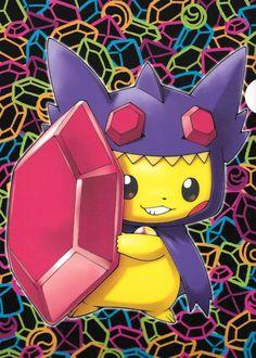 Pikachu con traje de Mega Sableye