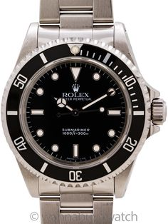 Rolex Submariner ref 14060 Tritium circa 1996 - Classic Rolex Submariner stainless steel ref 14060 T1 serial# circa 1996. Featuring a 40mm diameter case with sapphire crystal and unidirectional elapsed time bezel. Super clean example with glossy black original dial with tritium luminous indexes and hands. Powered by self winding calibre 3000 movement with sweep seconds, and Rolex heavy Oyster bracelet with flip lock clasp. This model is often favored over the date model due to its cleaner… Stainless Steel Rolex, Rolex Models, Elapsed Time, Sea Dweller, Thing 1, Pre Owned Rolex, Modern Watches, Vintage Models, Vintage Rolex