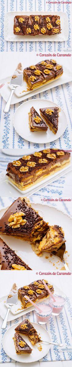 tarta, sin horno, chocolate, galletas, natillas, pastel, receta