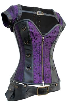 The Violet Vixen - A Perfect Storm Violet Vixen Black-Purple Corset, $160.65 (http://thevioletvixen.com/corsets/a-perfect-storm-violet-vixen-black-purple-corset/) Purple Corset with removable jacket and belt, authentic steel boning and strong cord lacing. Check out our website for a free corset size consultation and sign up for our newsletter so you don't miss a steal or a deal!