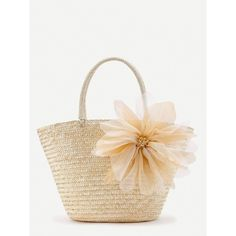 Mesh Flower Detail Straw Beach Tote Bag ($25) ❤ liked on Polyvore featuring bags, handbags, tote bags, white purse, mesh beach bag, mesh tote, white tote and straw purse