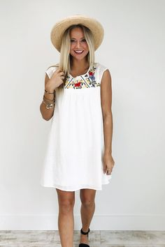 Embroidered Dress in White Sand | ROOLEE