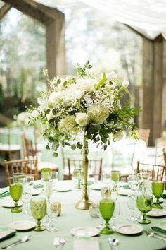 Garden-Fresh Green and White Flower Centerpieces