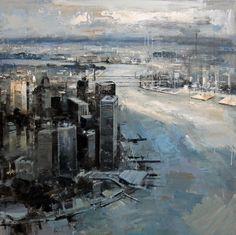 """SOBRE MANHATTAN"". OIL, 100 X 100CM, BY RICARDO GALAN URREJOLA. http://www.galeriemokum.com/kunstenaars/ricardo-galan-urrejola/#1156"