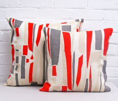 Info Specifications Scottish linen is hand screen printed by Tamasyn and her team in London. Each cushion is made up in the UK by a small British factory and stuffed using feather cushion pads. Small Cushions, Yellow Cushions, Cockpit Arts, Accent Pillows, Throw Pillows, Red Home Accessories, Red Home Decor, Teal Yellow, Blue