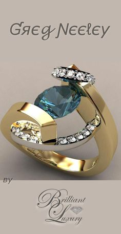 Brilliant Luxury by Emmy DE * Greg Neeley Swirl Wrap Suspension Set Ladies Ring Greg Neeley italian top ladies diamond and ring Bling Jewelry, Jewelry Rings, Jewelry Accessories, Jewelry Design, Designer Jewelry, Designer Earrings, Jewlery, Sapphire Jewelry, Enamel Jewelry