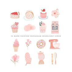 Etsy :: Your place to buy and sell all things handmade Cupcake Logo, Watercolor Circles, Watercolor Logo, Canva Instagram, Instagram Story, Instagram Feed, Planner Stickers, Rose Clipart, Bee Cakes