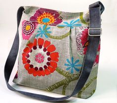 Mimosa Gray Diaper bag  Messenger  spring floral print by ikabags