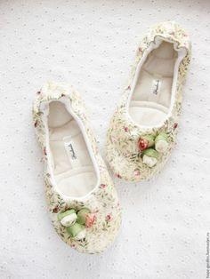 """Delicate Slippers / Тапочки """"Нежность весны"""", женские тапочки, балетки - бежевый, телесный, сливочный, тапочки"""
