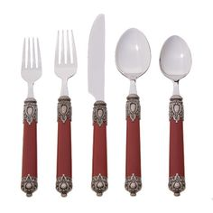 Elegantly sophisticated, this Hampton Forge Ltd. San Remo 20-pc. Flatware Set in Red is savvy in design. Ornately decorated handles adorn this set with 19th century metal designs that give each utensil aesthetic flare and personality. Service for 4 includes dinner knives, teaspoons, dinner spoons, dinner forks and salad forks. Made with 18/0 stainless steel for longevity of use.