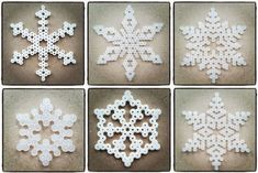 Create Your Own Diy Snowflakes For Decoration - Do It Yourself Samples Diy Christmas Snowflakes, Christmas Perler Beads, Snowflake Craft, Snowflake Decorations, Christmas Crafts, Christmas Decorations, Christmas Ornaments, Diy Christmas Fireplace, Snow Flakes Diy