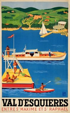 Val D'Esquieres PLM Bouchaud 1930s - original vintage summer travel poster by Michel Bouchaud listed on AntikBar.co.uk
