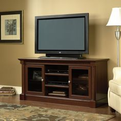 Wood TV Stand Entertainment Center Flat Screen Home Theater Media Console Cherry #SauderEntertainment #Traditional