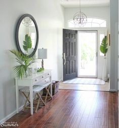 Add New Life to Your Home With This New Year's Resolution! — House Full of Sum… – Foyer Florida Home Decorating, Foyer Decorating, Decorating Your Home, Decorating Ideas, Coastal Homes, Coastal Living, Coastal Decor, Lounge Lighting, Foyer Lighting