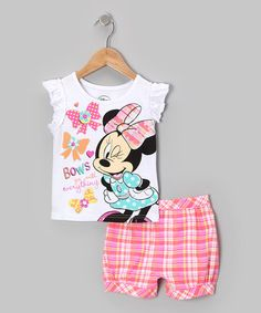 Take a look at this Orange Minnie Bow Tee & Plaid Shorts - Infant & Toddler by Minnie Mouse on #zulily today!