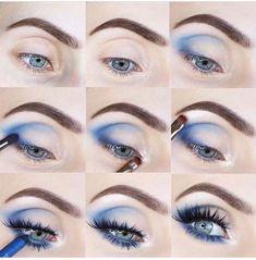 Prom Eye Makeup, Smoky Eye Makeup, Eye Makeup Steps, Makeup Eye Looks, Blue Eye Makeup, Kiss Makeup, Eyeshadow Makeup, Eyeshadow Designs, Eye Makeup Designs